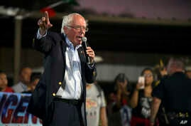 Democratic presidential candidate U.S. Sen. Bernie Sanders addresses the annual Comanche Nation Fair Powwow, Sunday, Sept. 22, 2019, in Lawton, Okla. (AP Photo/Gerardo Bello)