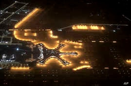 In this Tuesday, Sept. 24, 2019, photo, the new Beijing Daxing International Airport is seen from above in an aerial view in Beijing. Chinese President Xi Jinping presided Wednesday over the inauguration of a second international airport for Beijing…