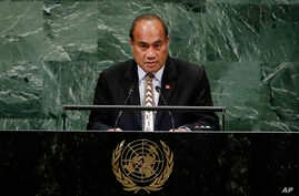 President Taneti Maamau of Kiribati addresses the 73rd session of the United Nations General Assembly Wednesday, Sept. 26, 2018, at the United Nations headquarters. (AP Photo/Frank Franklin II)