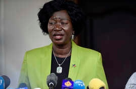 Awut Deng Achuil, the South Sudan Minister for Foreign and the first female to hold the position, speaks to press in Juba, South Sudan, Thursday, Sept.12, 2019. Sudan's newly appointed government and rebel leaders agreed Wednesday on a roadmap aimed…
