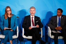 Copenhagen Mayor Frank Jensen, center, is joined by Children Investment Fund Foundation Chief Executive Officer Kate Hampton,…