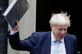 Britain's Prime Minister Boris Johnson leaves Downing Street to attend Parliament in London, Thursday, Oct. 3, 2019. The U.K. offered the European Union a proposed last-minute Brexit deal on Wednesday that it said represents a realistic compromise…