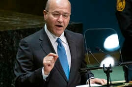 Iraqi President Barham Salih addresses the 74th session of the United Nations General Assembly, Wednesday, Sept. 25, 2019, at…