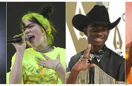 This combination photo shows, from left, Scottish singer Lewis Capaldi, Billie Eilish, rapper Lil Nas X  and Lizzo, who are…