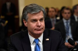 FBI Director Christopher Wray testifies before the House Homeland Security Committee on Capitol Hill in Washington, Wednesday,…
