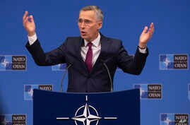 NATO Secretary General, Jens Stoltenberg speaks during a media conference at NATO headquarters in Brussels, Friday, Nov. 29,…