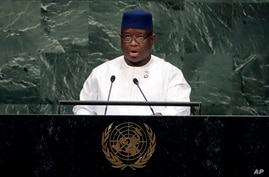 FILE - In this Thursday, Sept. 27, 2018 file photo, Sierra Leone President Julius Maada Bio addresses the 73rd session of the…