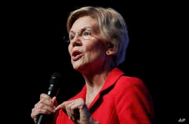 Democratic presidential candidate Sen. Elizabeth Warren, D-Mass., speaks during a fundraiser for the Nevada Democratic Party,…