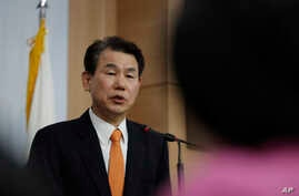 South Korea's chief negotiator Jeong Eun Bo answers a reporter's question after a meeting with U.S. counterpart James DeHart at…