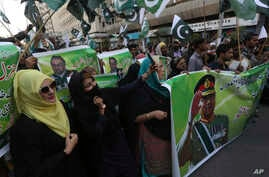 Supporters of former Pakistani military ruler Gen. Pervez Musharraf protest a court's decision, in Karachi, Pakistan, Wednesday…