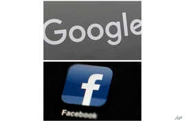 FILE - This file photo combo of images shows a Google sign and the Facebook app. In a scathing indictment of the two most…