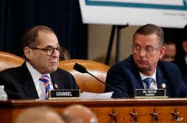 House Judiciary Committee Chairman Rep. Jerrold Nadler, D-N.Y., left, gives his closing statement as ranking member Rep. Doug…