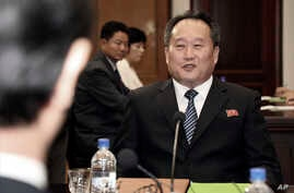 In this photo provided by South Korea Unification Ministry, head of North Korean delegation Ri Son Gwon talks with South Korean…
