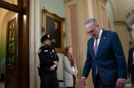Senate Minority Leader Chuck Schumer, D-N.Y., walks back to the chamber following an afternoon break as the impeachment trial…