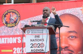 Zimbabwe's main opposition leader, Nelson Chamisa addresses party supporters at a gathering in Harare, Tuesday, Jan, 21, 2020…