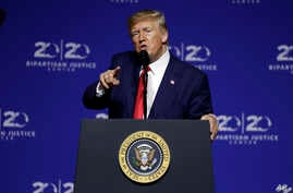 President Donald Trump speaks at the 2019 Second Step Presidential Justice Forum at Benedict College, Friday, Oct. 25, 2019, in…