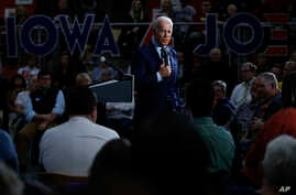 Democratic presidential candidate former Vice President Joe Biden speaks during a campaign event at Iowa Central Community…