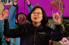 In this Jan. 8, 2020, photo, Tsai Ing-wen, Taiwan's President and the 2020 presidential election candidate for the Democratic…