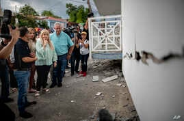 Governor Wanda Vazquez inspect an earthquake-damaged house in Guanica, Puerto Rico, Monday, Jan. 6, 2020. A 5.8-magnitude quake…