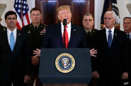 President Donald Trump addresses the nation from the White House on the ballistic missile strike that Iran launched against…