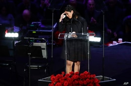 Vanessa Bryant speaks during a celebration of life for her husband Kobe Bryant and daughter Gianna Monday, Feb. 24, 2020, in…
