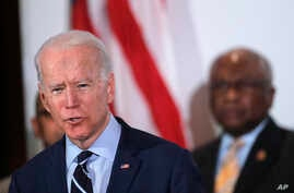 Democratic presidential candidate former Vice President Joe Biden, speaks as he is endorsed by House Majority Whip, Rep. Jim…