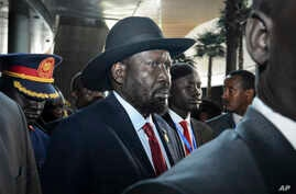 South Sudan's President Salva Kiir arrives for the opening session of the 33rd African Union (AU) Summit at the AU headquarters in Addis Ababa, Ethiopia, Feb. 9, 2020.