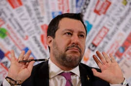 Opposition populist leader Matteo Salvini gestures during press conference at the Foreign Press association, in Rome, Thursday,…