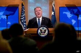 Secretary of State Mike Pompeo speaks at a news conference at the State Department, Tuesday, Feb. 25, 2020, in Washington. (AP…
