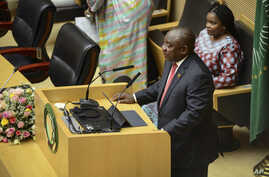 South Africa's President Cyril Ramaphosa, the new Chairman of the African Union (AU), addresses the opening session of the 33rd…