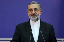Iran's Judiciary spokesman Gholamhossein Esmaili gives a press conference in Tehran, Iran, Tuesday, Feb. 4, 2020. Iran said…