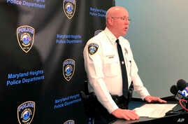 Maryland Heights Police Chief Bill Carson speaks at a news conference Tuesday, Feb. 25, 2020. Authorities say a police officer…