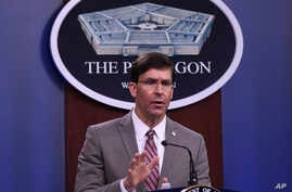 Defense Secretary Mark Esper speaks during a briefing at the Pentagon in Washington, Monday, March 2, 2020. (AP Photo/Susan…