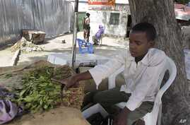 FILE - In this photo taken Wednesday July 12, 2012 Isaq  Abdi sits beside bundles of khat which he sells for his employer in…