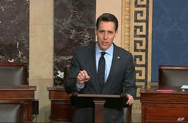 In this image from video, Sen. Josh Hawley, R-Mo., speaks on the Senate floor about the impeachment trial against President…