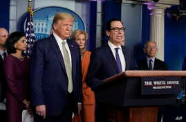 Treasury Secretary Steven Mnuchin speaks during a press briefing with the coronavirus task force, at the White House, Tuesday,…
