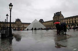 The Louvre museum is pictured in Paris, Monday, March 2, 2020. The Louvre Museum was closed again Monday as management was…