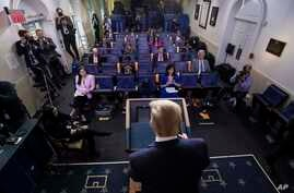 President Donald Trump speaks about the coronavirus in the James Brady Press Briefing Room of the White House, Friday, April 24…