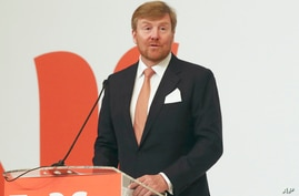 King Willem-Alexander of the Netherlands delivers a speech during Netherlands Economic Mission to Indonesia in Jakarta,…