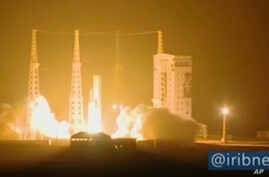 In this image taken from video an Iranian rocket carrying a satellite is launched from Imam Khomeini Spaceport in Iran's Semnan…