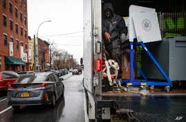 Workers load election materials into a truck for moving to different location, Tuesday, March 17, 2020, in the Brooklyn borough…