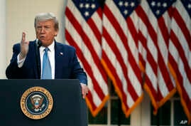 President Donald Trump speaks about the coronavirus in the Rose Garden of the White House, Wednesday, April 15, 2020, in…
