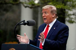 President Donald Trump speaks about the coronavirus in the Rose Garden of the White House, Tuesday, April 14, 2020, in…
