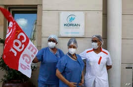 Employees demonstrating outside a nursing home of the Korian group, one of the market leaders in the lucrative industry of…