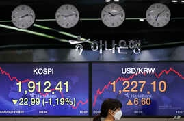 A currency trader wearing a face mask walks by screens showing the Korea Composite Stock Price Index (KOSPI), left, and the…