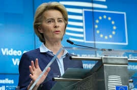 European Commission President Ursula von der Leyen speaks during a news conference after a video conference with EU leaders in…