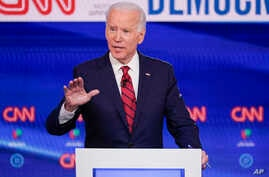 FILE - In this Sunday, March 15, 2020, file photo, former Vice President Joe Biden participates in a Democratic presidential…