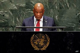 Lesotho's Prime Minister Thomas Motsoahae Thabane addresses the 74th session of the United Nations General Assembly, Friday,…