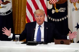 President Donald Trump speaks during a Cabinet Meeting in the East Room of the White House, Tuesday, May 19, 2020, in…