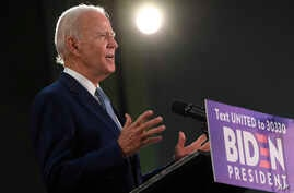 Democratic presidential candidate, former Vice President Joe Biden speaks during an event in Dover, Del., Friday, June 5, 2020…